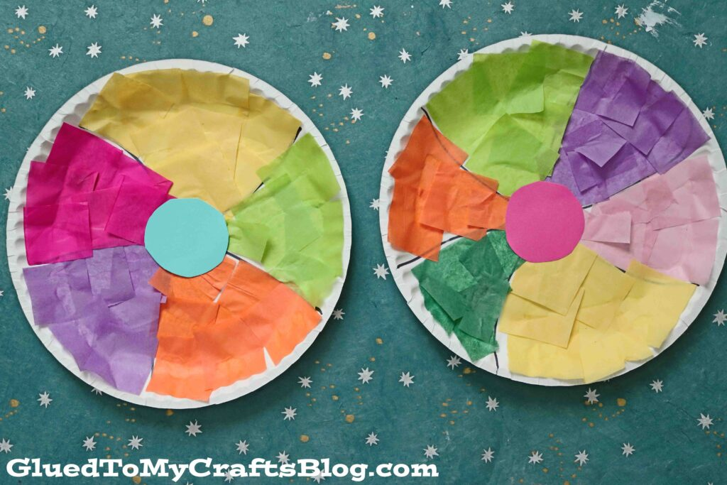 Tissue Paper & Paper Plate Beach Ball - Kid Craft Idea For Summer