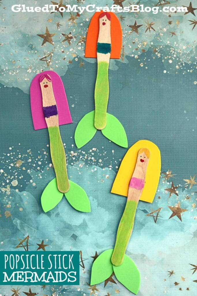 Wavy Popsicle Stick Mermaid Puppet - Kid Craft