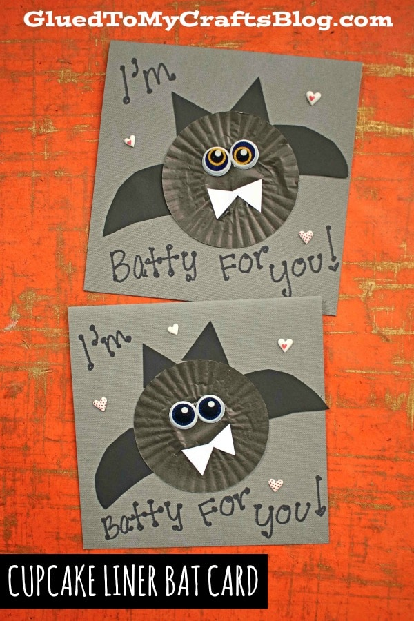 Cupcake Liner Bat Cards For Halloween