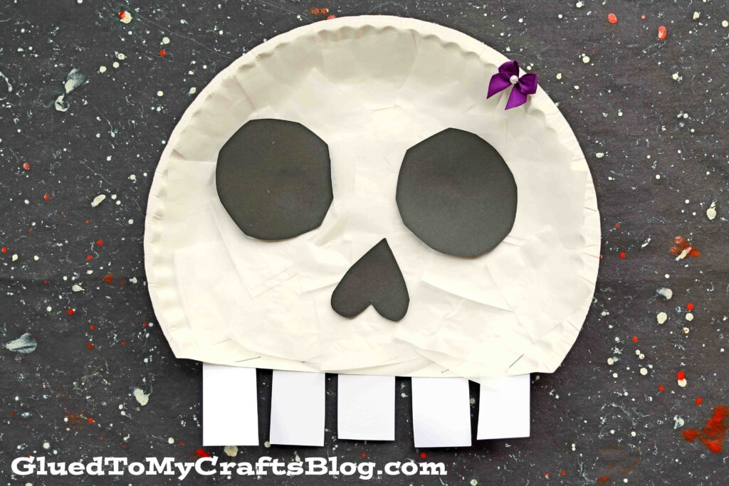 Paper Plate Skull - Halloween Kid Craft Idea