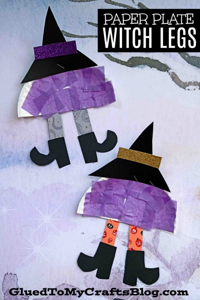Paper Plate Witch Legs - Halloween Kid Craft Idea
