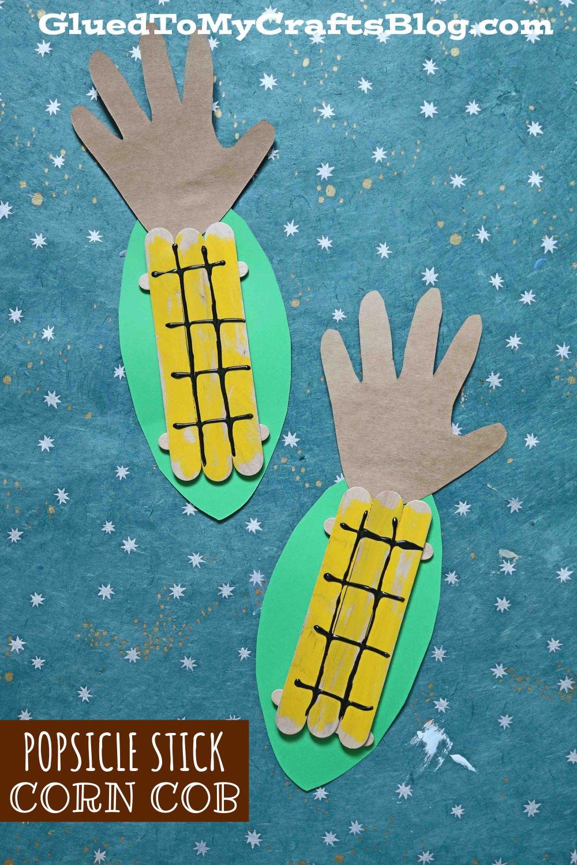 Popsicle Stick Corn - Kid Craft Idea For Fall FUN!