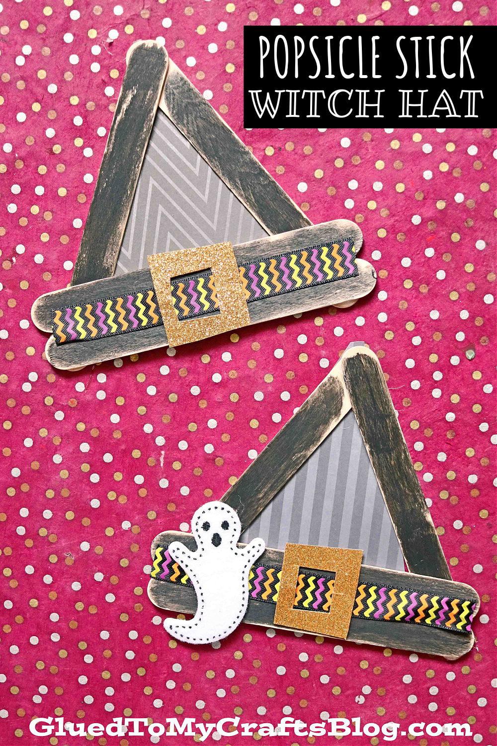 Popsicle Stick Witch Hats - Kid Craft Idea For Halloween