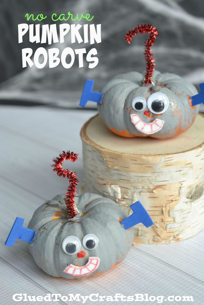 No Carve Pumpkin Robots - Halloween Kid Craft