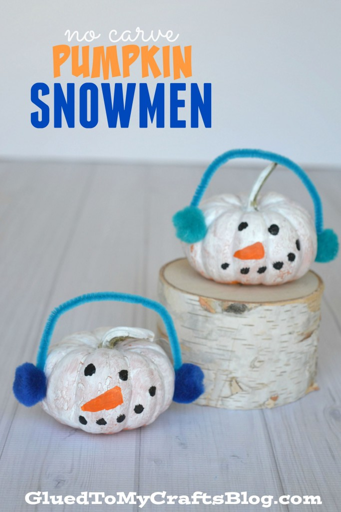 No Carve Pumpkin Snowmen