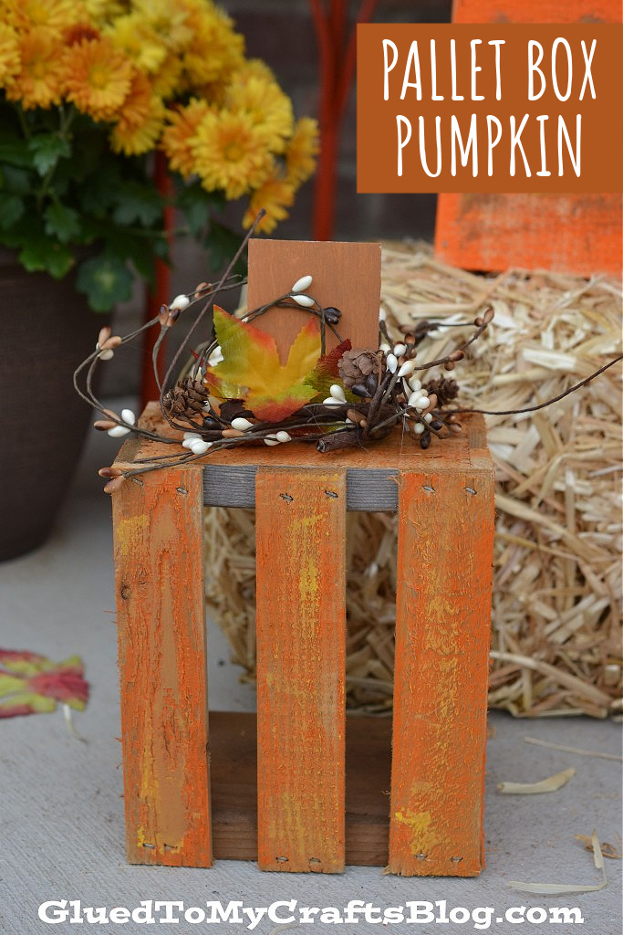 DIY Wooden Pallet Box Pumpkins - Front Porch Decor Idea