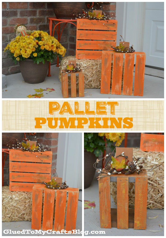 Wooden Pallet Box Pumpkins - Decor Pieces