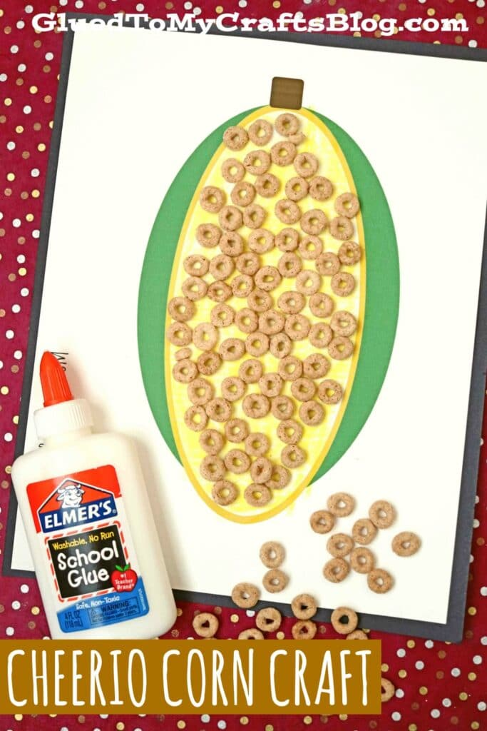 Cheerio Corn on the Cob - Paper Kid Craft Idea For Fall