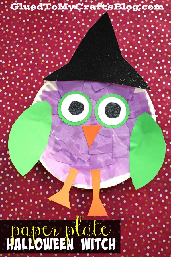Paper Plate Owl Witch - Kid Craft Idea For Halloween