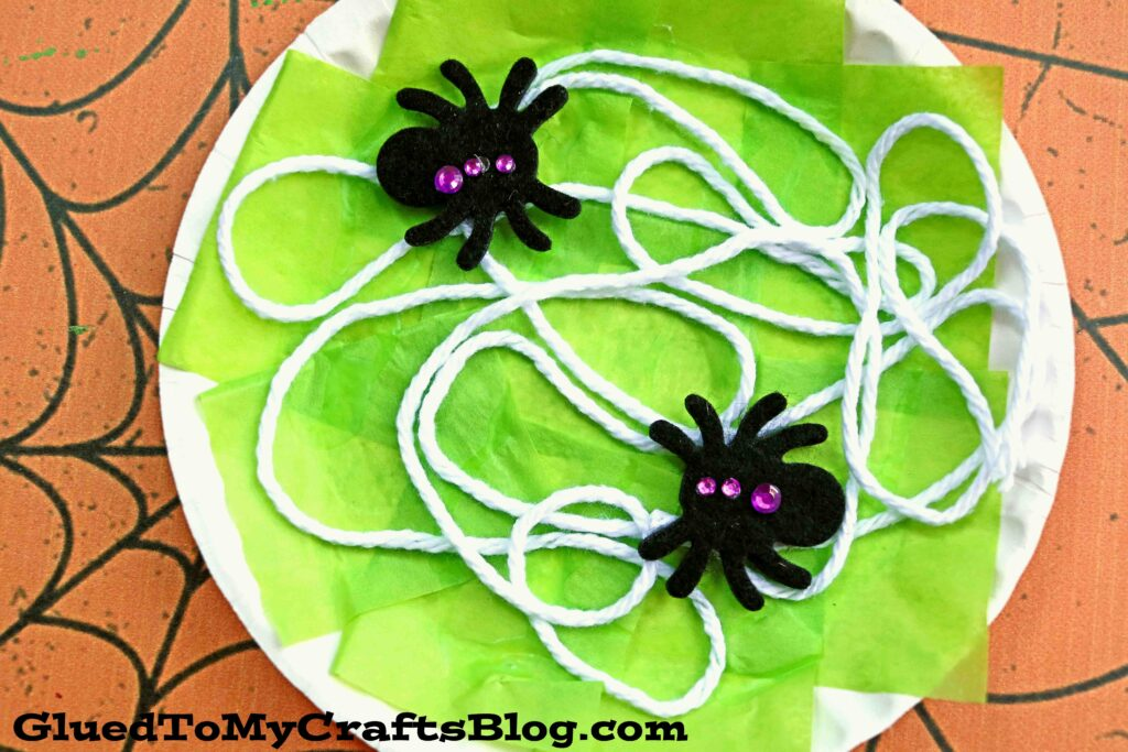 Paper Plate Spider Web - Kid Craft Idea For Halloween