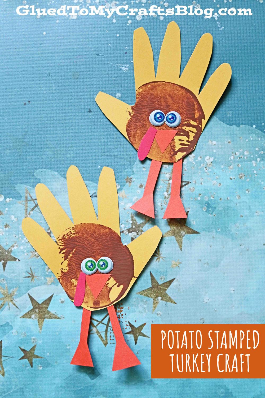 Potato Stamped Turkey Handprints - Kid Craft