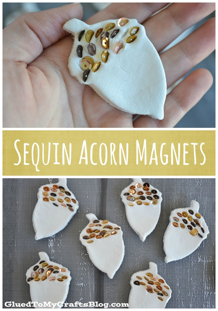 DIY Sequin and Clay Acorn Magnets For Kids To Make This Fall!