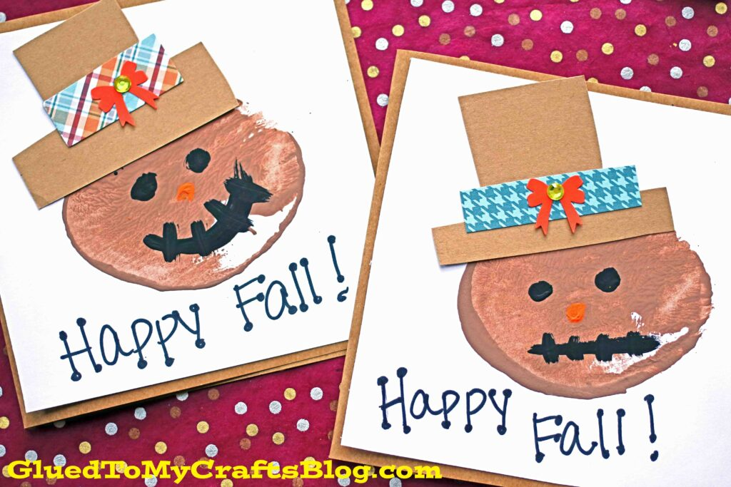 Potato Stamped Scarecrow Cards - Fall Kid Craft Idea