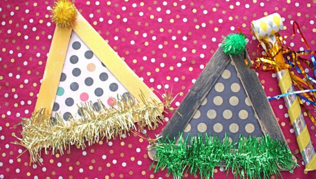 Popsicle Stick Party Hats - Kid Craft