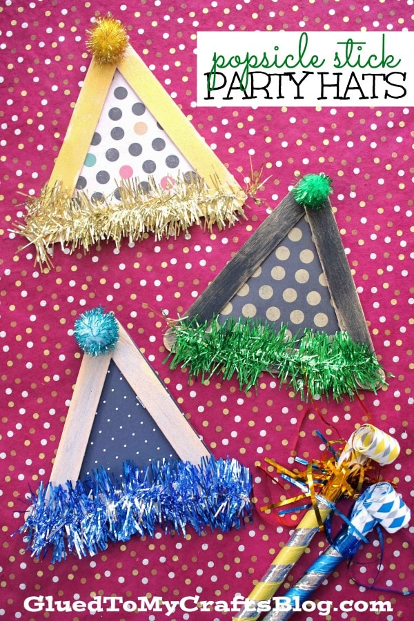 Popsicle Stick Party Hats - New Year's Kid Craft