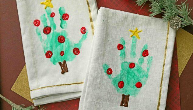 Handprint Christmas Tree Napkins For Kids To Make!