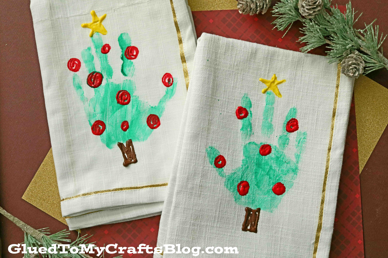 Handprint Christmas Tree Napkins For Kids To Make