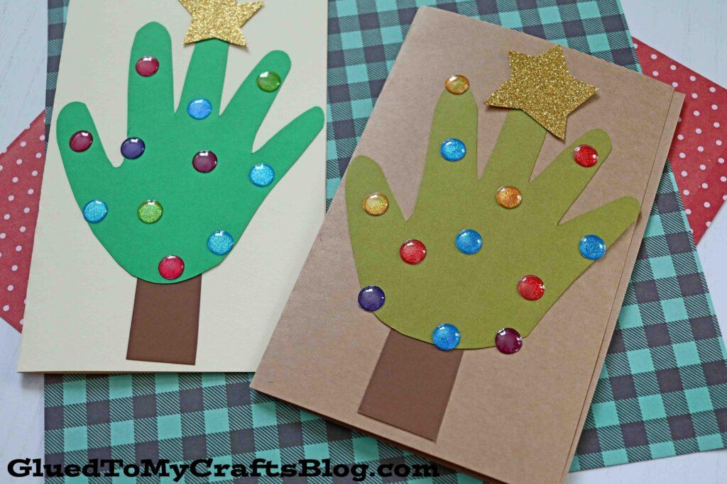 Handprint Christmas Tree Cards - Kid Craft