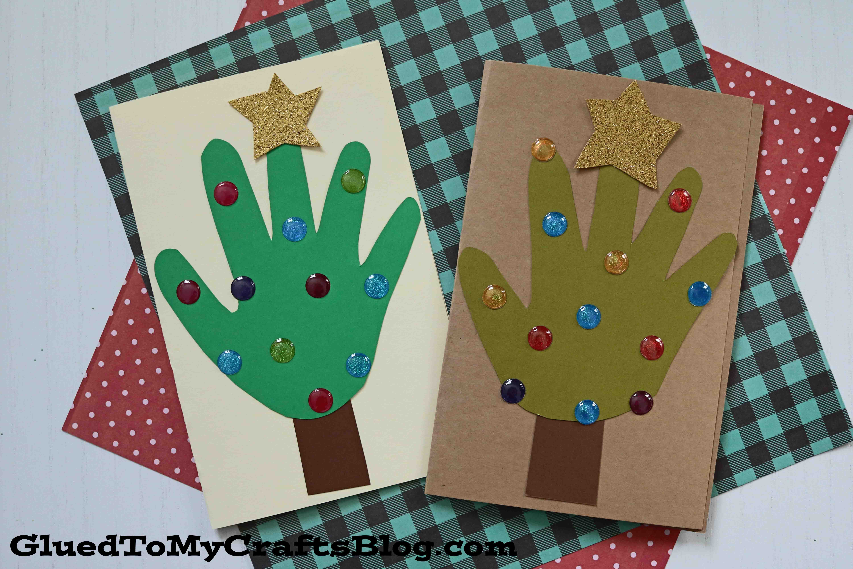 handprint christmas tree cards  kid craft