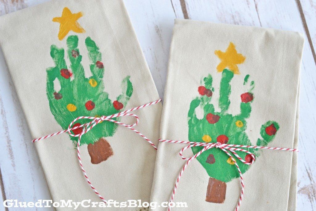 Handprint Christmas Tree Napkin Keepsake Gift Idea