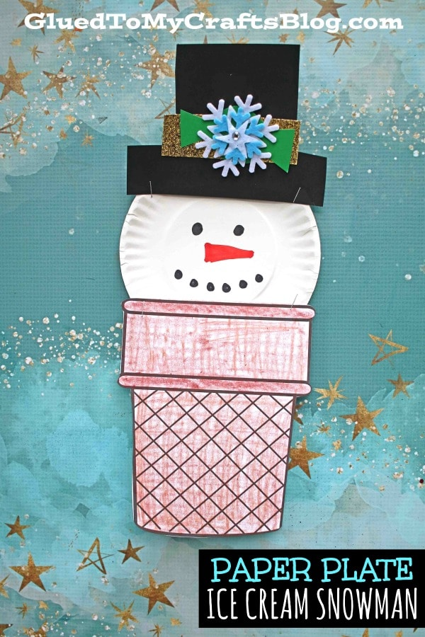 Paper Plate Ice Cream Snowman - Kid Craft