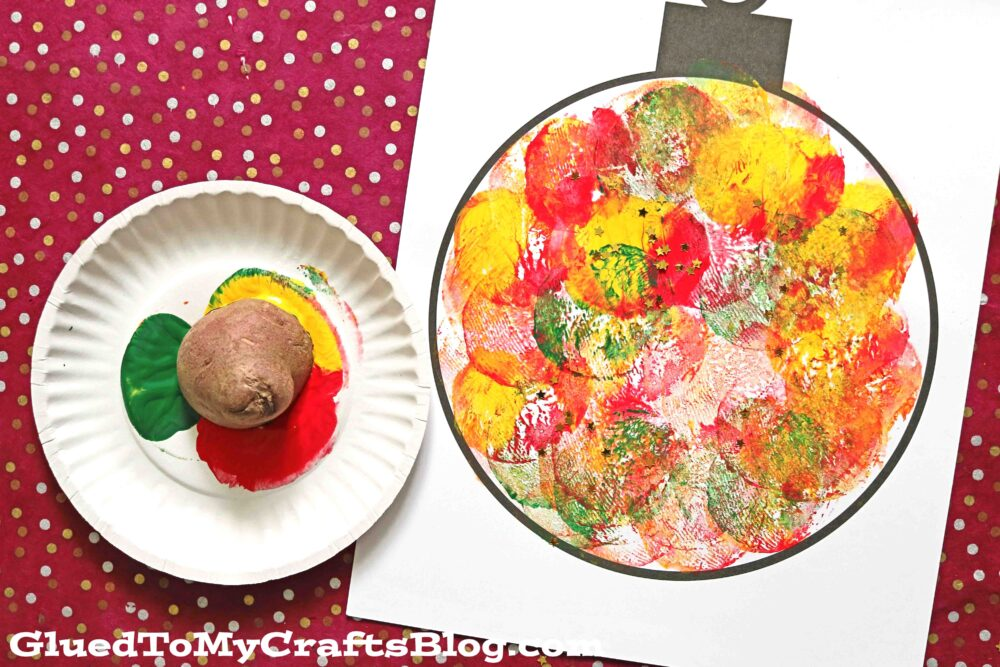 Potato Stamped Christmas Ornaments On Paper - Kid Craft