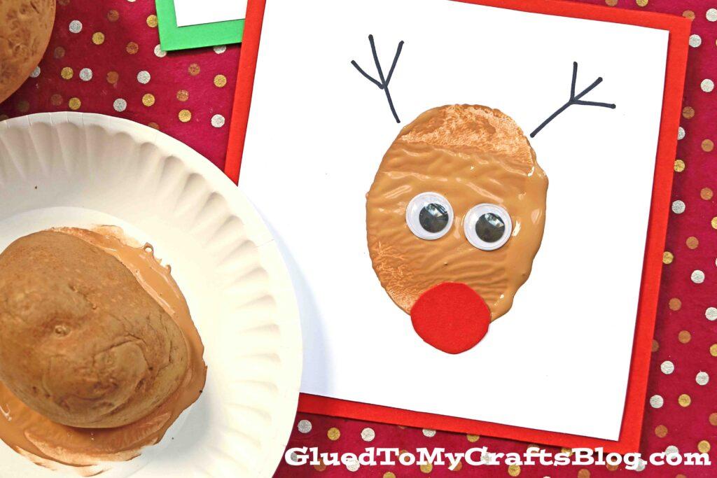 Handmade Potato Stamped Reindeer Card - Kid Craft