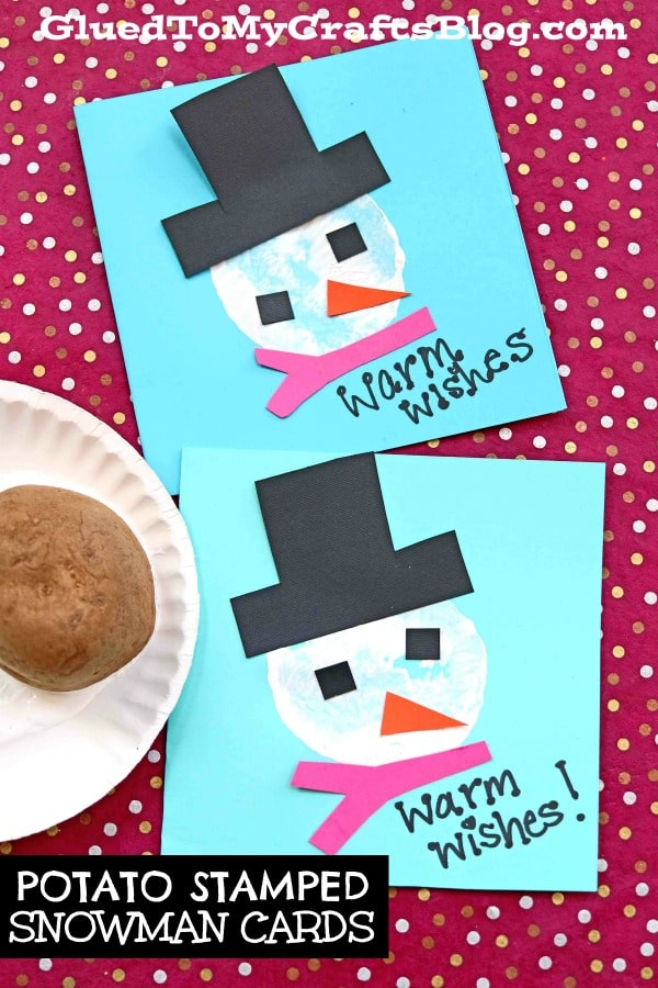 Potato Stamped Snowmen Cards - Kid Craft