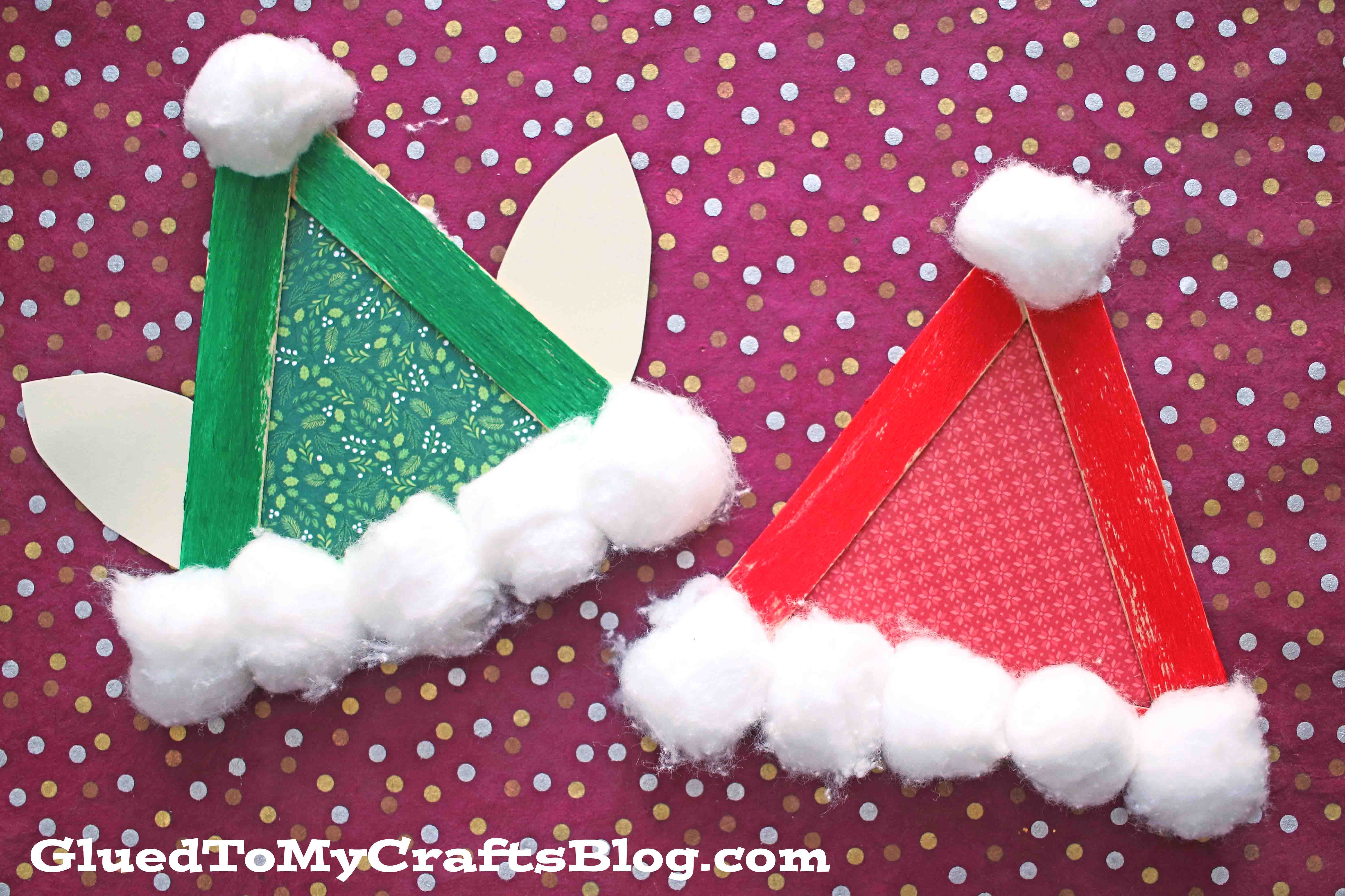 Popsicle Stick Santa & Elf Hats - Kid Craft