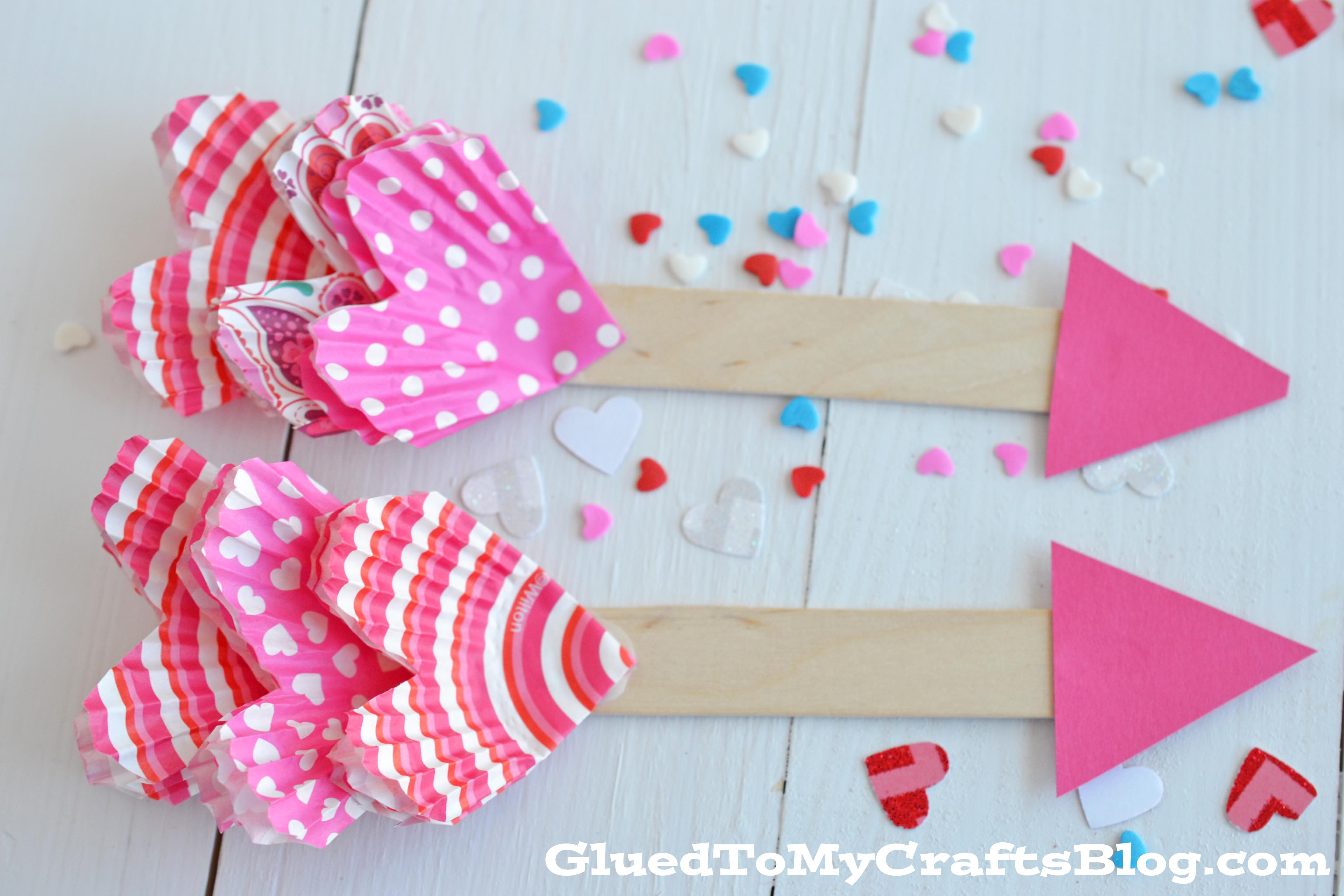 Cupcake Liner Cupids Arrow Kid Craft Glued To My Crafts