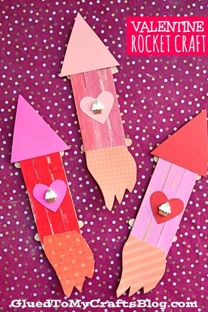 Popsicle Stick Valentine Rocket Ships - Kid Craft