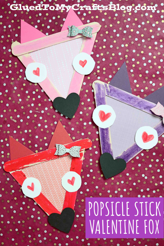 Popsicle Stick Valentine Foxes - Kid Craft Idea For Valentine's Day