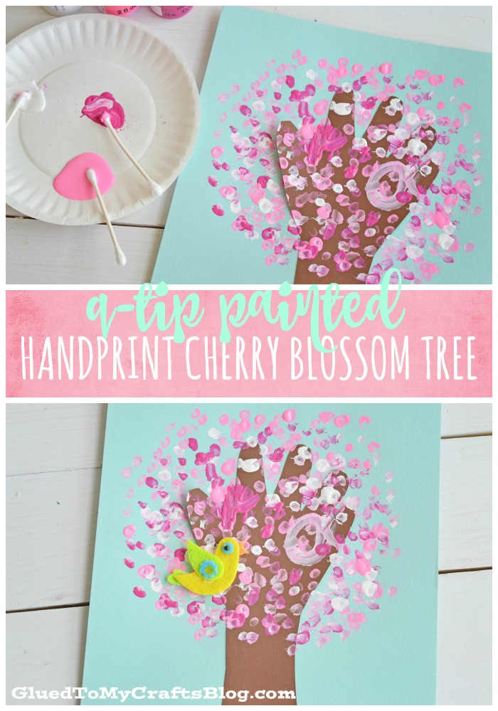 Q-Tip Painted Handprint Cherry Blossom Tree - Kid Craft
