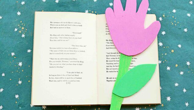 Craft Foam Handprint Flower Bookmarks - Kid Craft