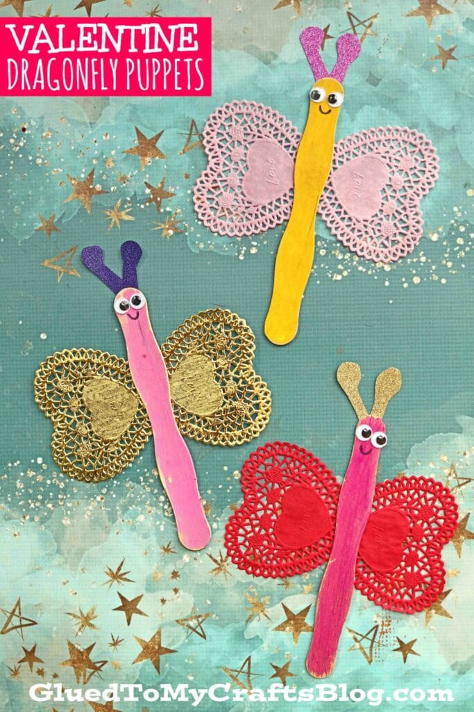 Paper Heart Doily Dragonfly Puppets - Kid Craft