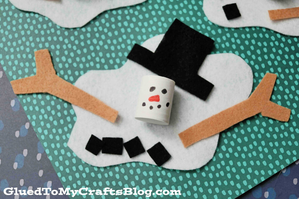 Felt and Craft Foam Melted Snowman - Kid Craft Idea For Winter