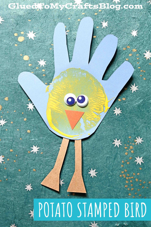 Potato Stamped Handprint Baby Birds - Kid Craft