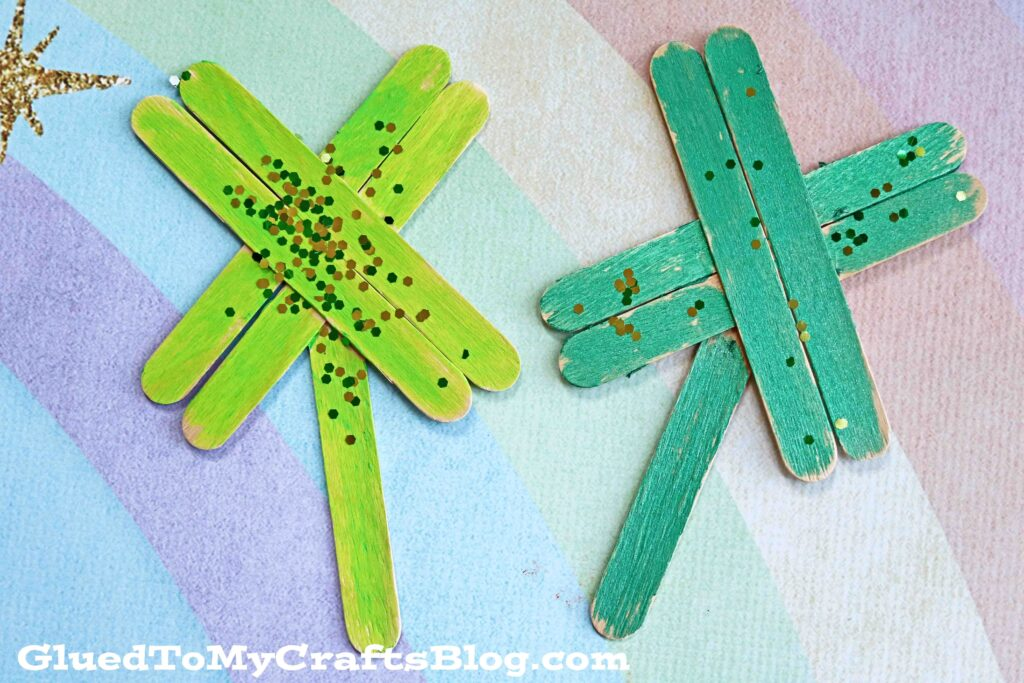 Popsicle Stick Four Leaf Clovers - Kid Craft Idea For St. Patrick's Day