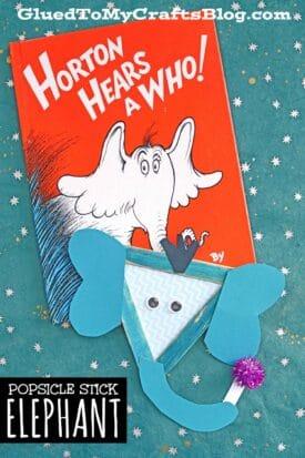 Dr Seuss Inspired Popsicle Stick Horton - Kid Craft Idea