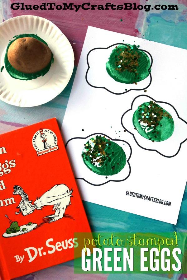 Potato Stamped Green Eggs w/free printable template