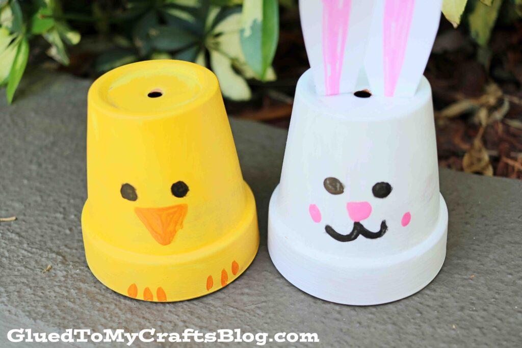 DIY Painted Terra Cotta Pot Easter Friends - Kid Craft
