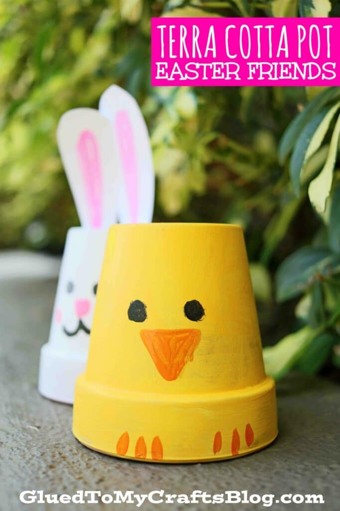DIY Terra Cotta Pot Easter Friends - Bunny & Baby Chick Kid Craft Idea