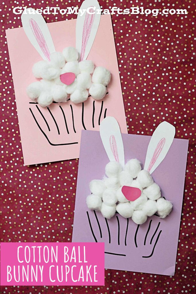Cotton Ball Bunny Cupcake Craft For Kids To Recreate This Easter