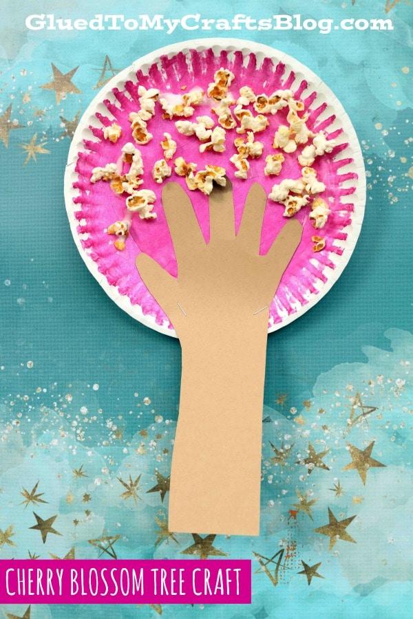 Paper Plate Popcorn Cherry Blossom Tree - Kid Craft