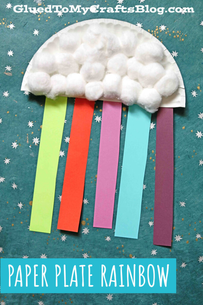 Paper Plate and Cotton Ball Rainbow Cloud - Kid Craft Idea
