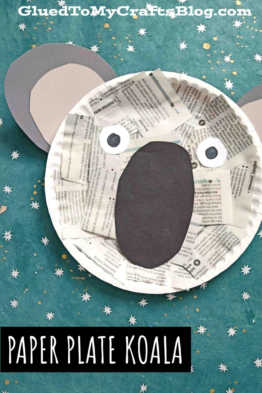 Recycled Newspaper Koala - Paper Plate Kid Craft Idea