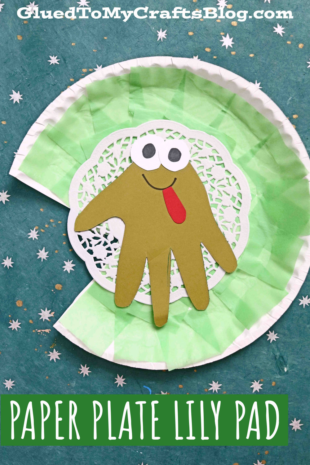 Paper Plate Lily Pad w/Handprint Frog - Kid Craft