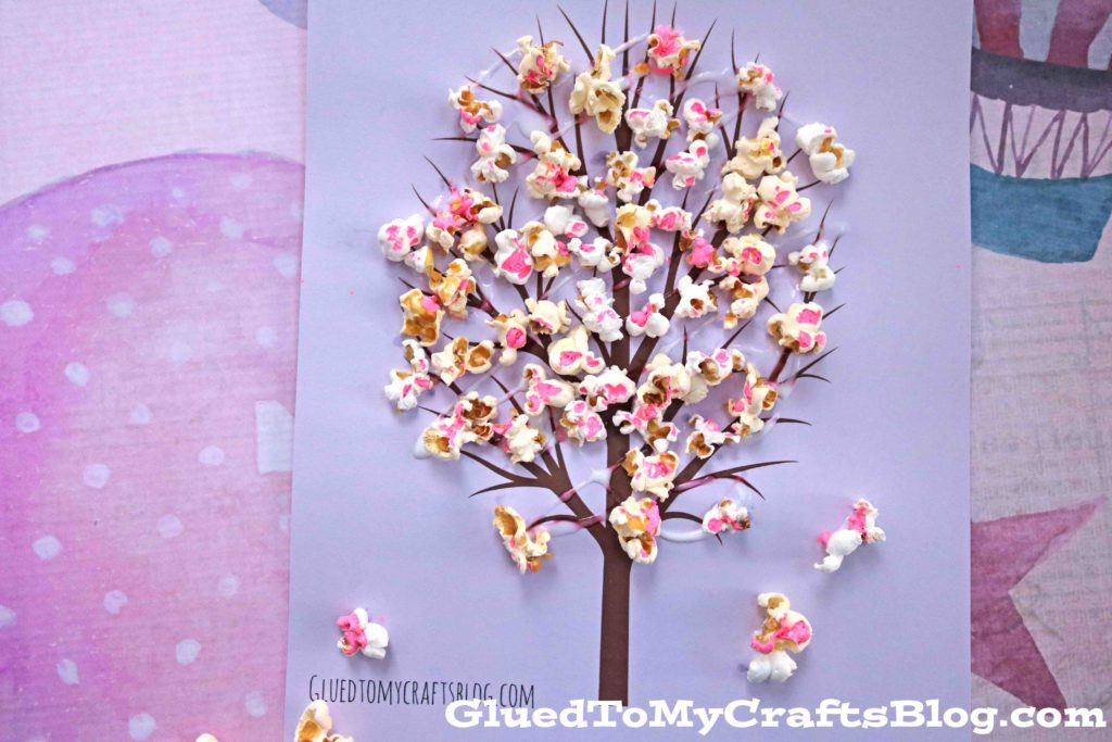 Cherry Blossom Popcorn Tree Kid Craft W Free Printable