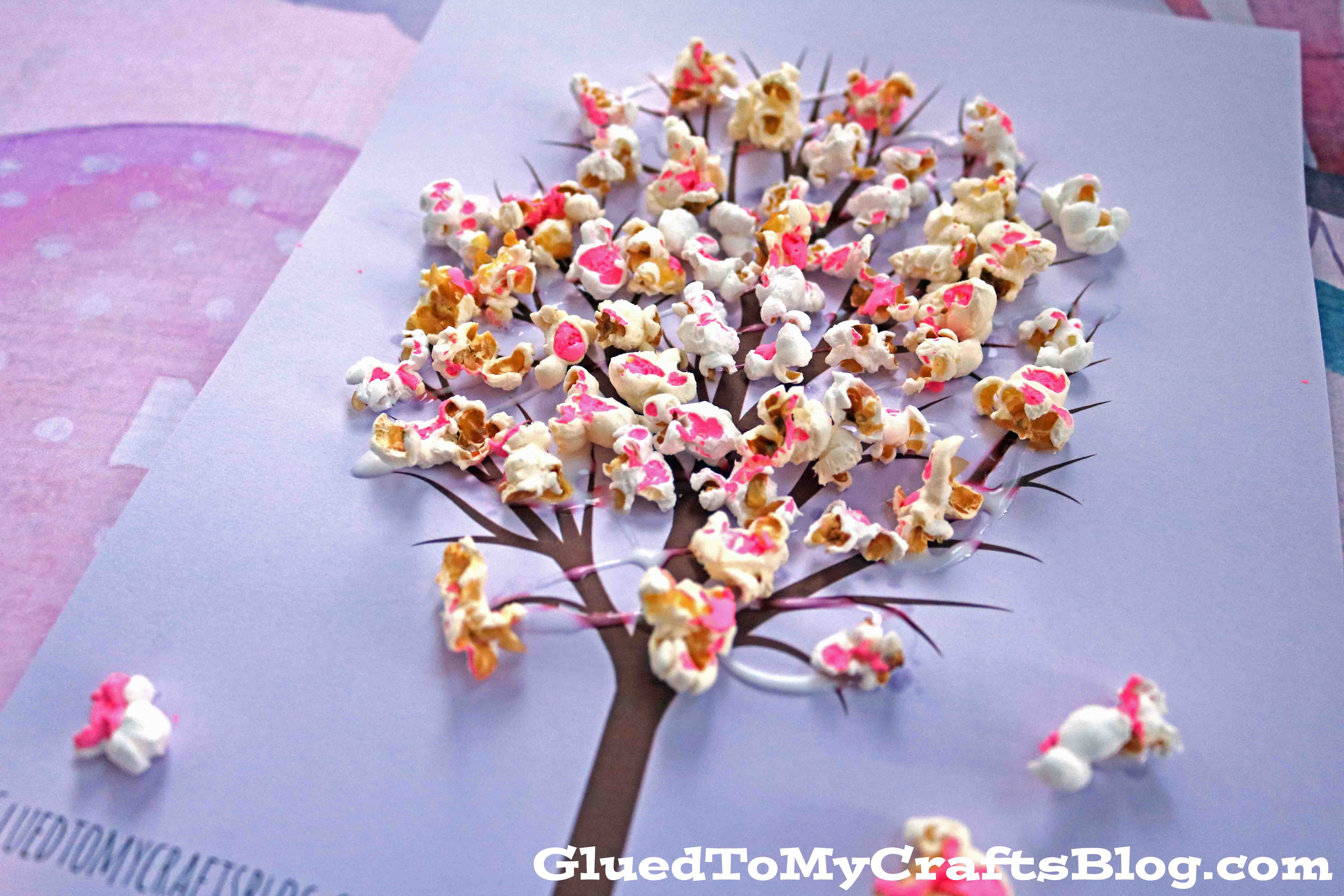 Cherry Blossom Popcorn Tree Kid Craft w/free printable template