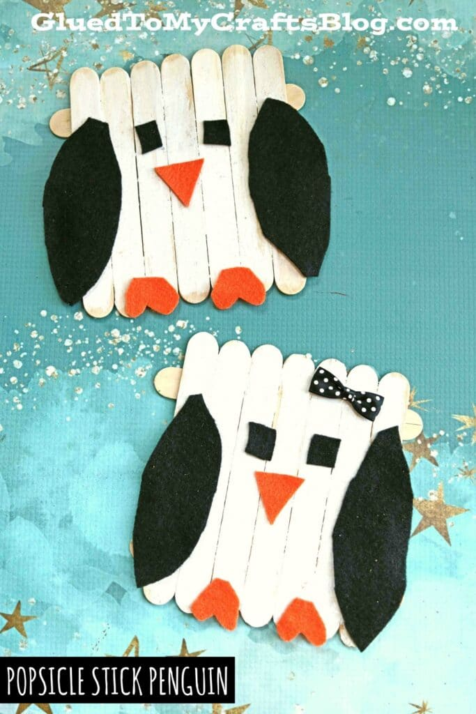 Popsicle Stick and Craft Felt Penguin Puppet Friend - Winter Kid Craft Idea